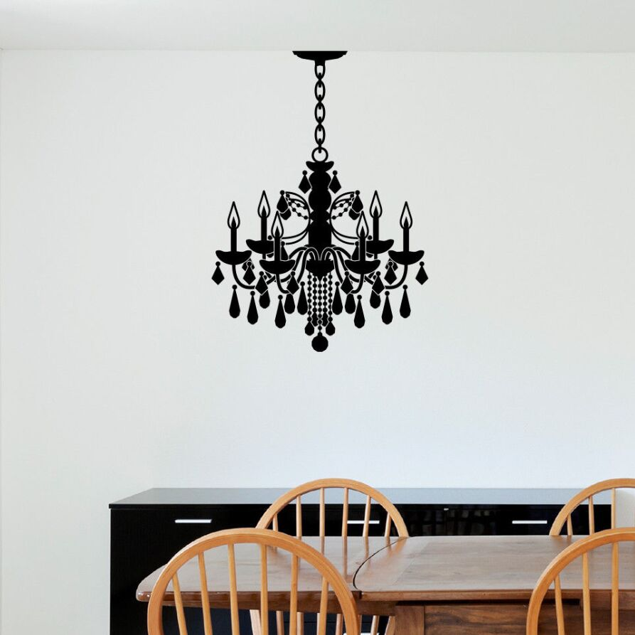 Vinyl Wall Art Sticker Chandelier Wall Decal Ceiling Lamp Style Removable Wallpaper Modern Design Chandelier Home Decor Ay1126 Wall Stickers Aliexpress