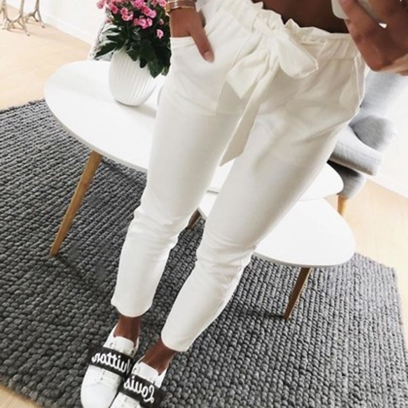 Suede high waist pencil   pants     capris   Women bottom sash streetwear casual   pants   2018 Autumn chic white winter trousers