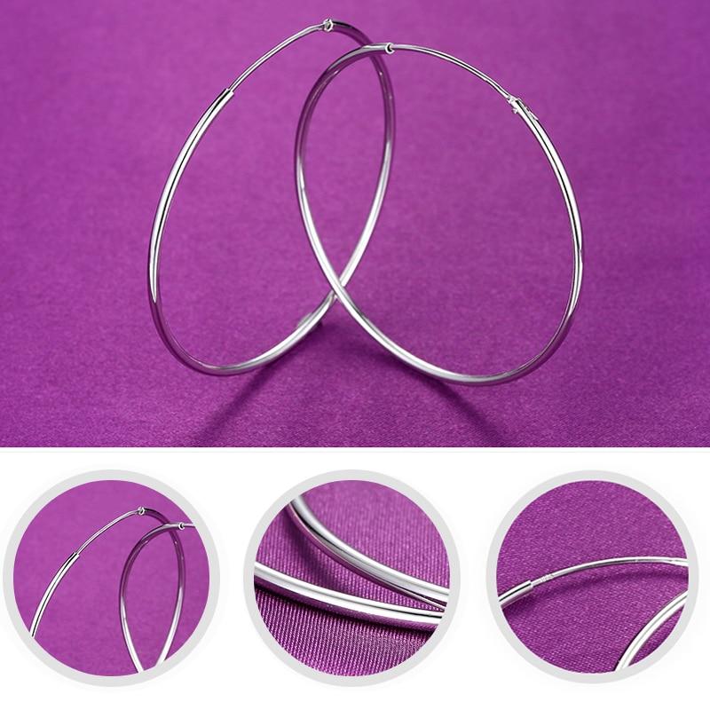 2018 nieuwe echte 925 sterling zilveren kleine grote hoepel oorbellen - Fijne sieraden - Foto 3