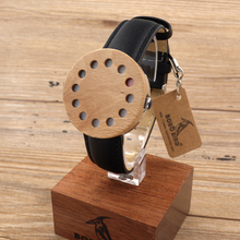 BOBO BIRD C13-C15 Wood Watches Fashion Women Watch 12 Holes Case Leather Band Casual Quartz Watch for Ladies in Paper Gift Box