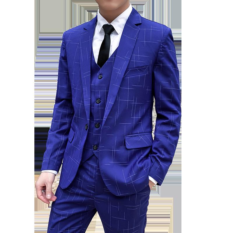 Новинка 2019, мужские костюмы, костюм джентльмена в британском стиле (Блейзер + жилет + брюки), полосатый высококачественный модный костюм с пр... - 5