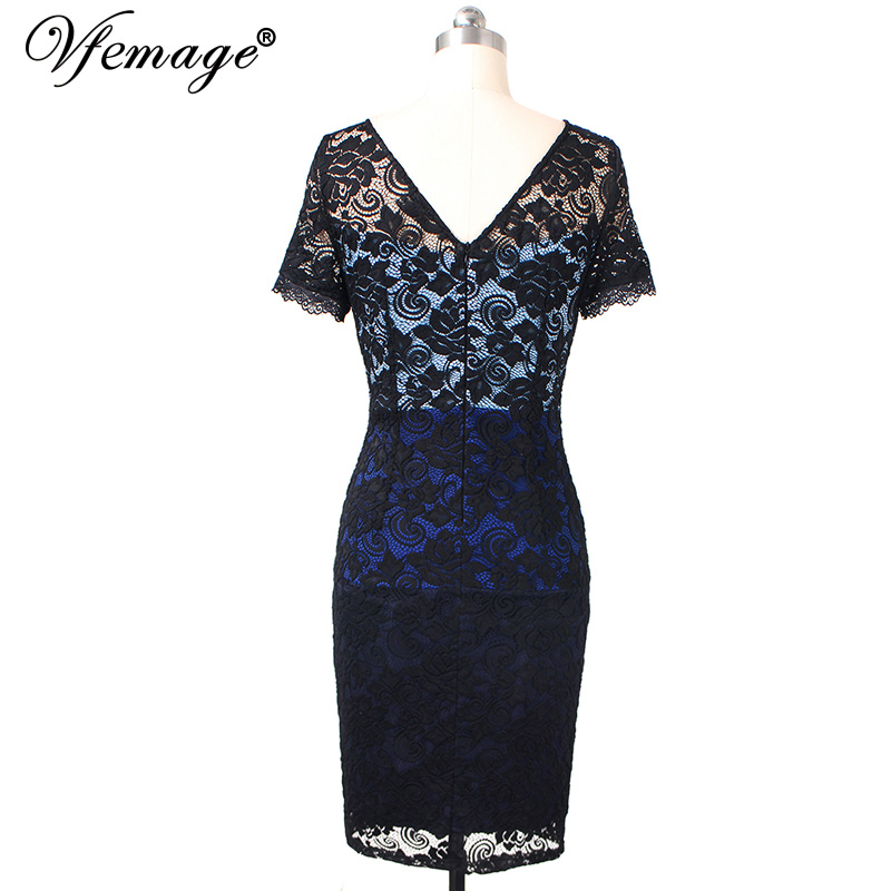 b6b79e1dba65 Vfemage Womens Elegant Colorblock Contrast Floral Lace Patchwork Cocktail  Party Fitted Stretch Bodycon Pencil Sheath Dress 429