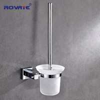 ROVATE Brass Toilet Brush Holder Chrome Plated Mounted Bathroom Brush Set Frosted Glass Cup Clean Accessories