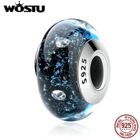 WOSTU Authentic 925 Sterling Silver Midnight Clear CZ Murano Glass Beads Fit Original Charm Bracelet S925