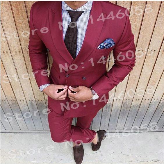 53bcd8a6bcff5 Erkek Düğün Takımları 2018 Kruvaze Iş Bordo Rahat Erkek Takım Elbise  Pantolon Slim Fit Damat Sağdıç