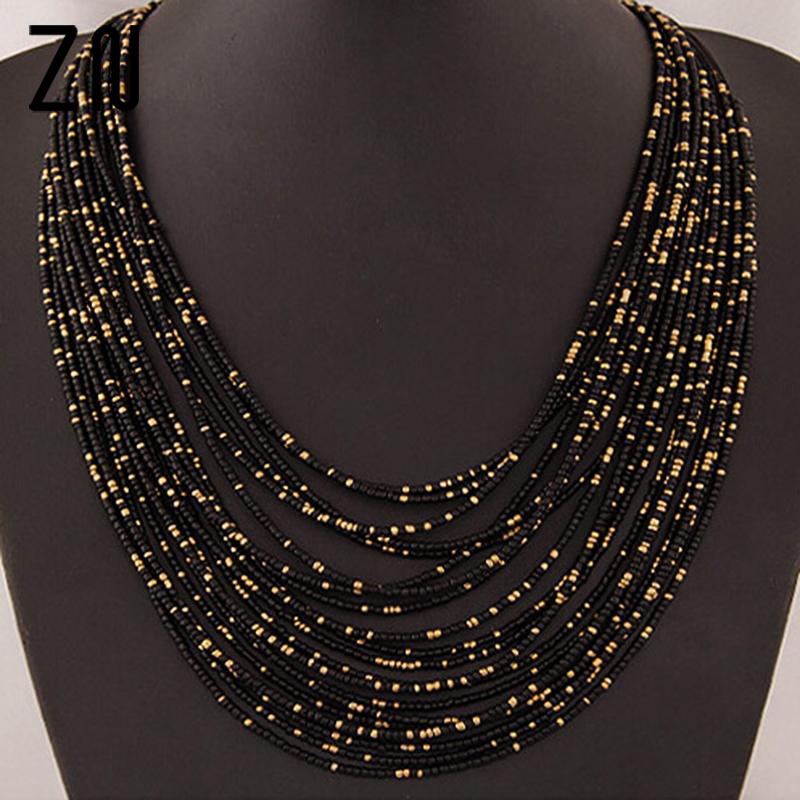 Bohemia Necklace Multilayer-Beads Statement Choker Exaggerated Wholesale Fashion Women