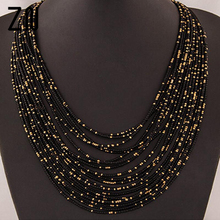 Bohemia Necklace  Fashion For Women Brand ZA Exaggerated Luxury Multilayer Beads Statement Choker Chunky Necklace Wholesale цена 2017