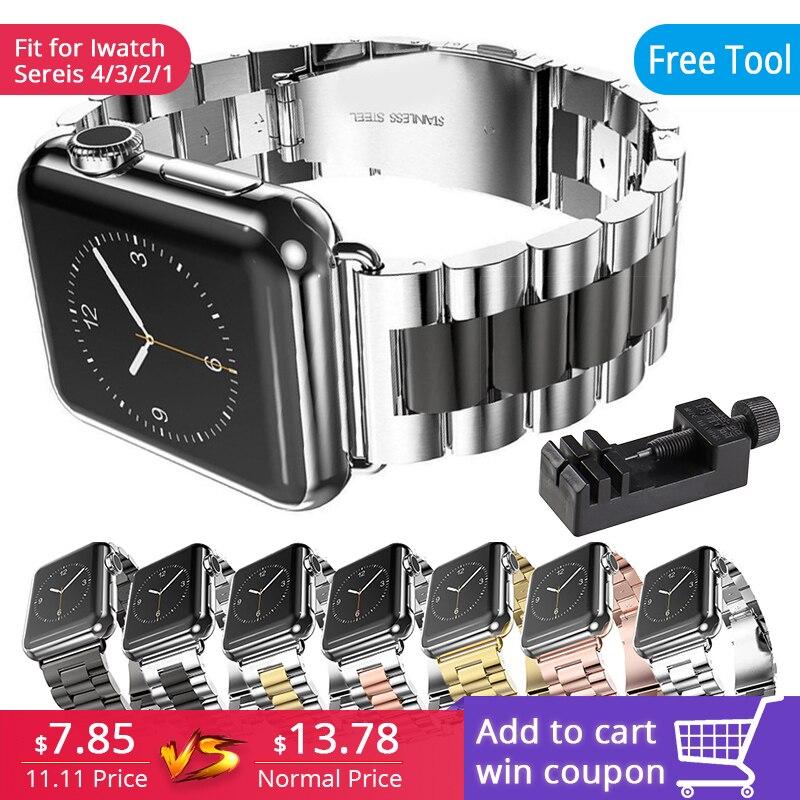 Edelstahl Strap Handgelenk Band Ersatz mit Durable Klapp Metall Verschluss für Apple Uhr series4 3 2 1 für iwatch 38mm 42mm
