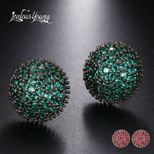 Druzy Green Round Punk Stud Earrings for Women Black Gold Color AAA Cubic Zirconia Bohemia Romantic Small Earings Africa Jewelry 36x16mm small druzy cabochon