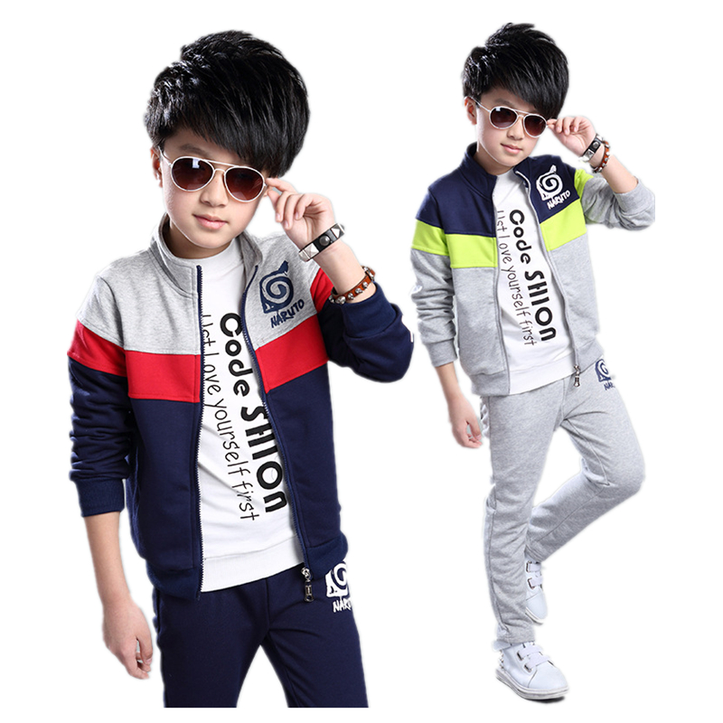High quality 2017 spring teenage boys clothing Kids Clothes Boy's Fashion cotton Sports Set Kids Suit Sets Boys Jackets & Pants children s clothing 2017 spring camouflage set teenage boys clothes child spring
