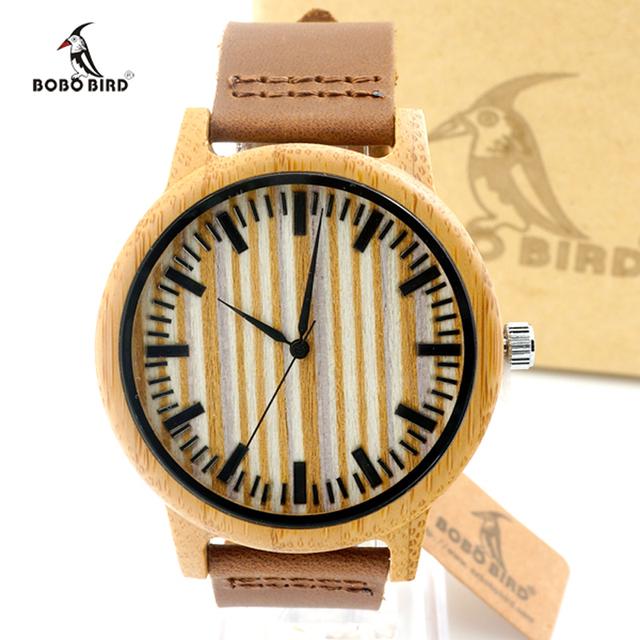 Dark Leather Wood Watch