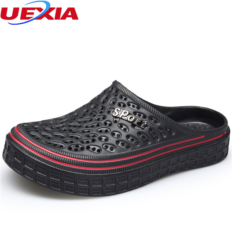 UEXIA Summer Men Fashion Casual Slippers Shoes Jelly Outdoor Beach Breathable Slipper Flats Water Sandalias Zapatos Flip Flops