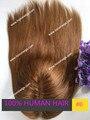 Тонкая кожа вокруг светло-коричневый цвет #6 базовый размер пользовательские cap дизайн прямые волосы индийские волосы женщины тупею HT280 пользовательские заказ