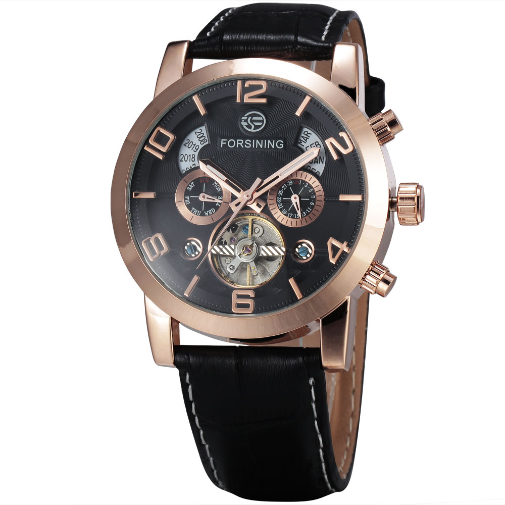WINNER Men Noble Mechanical Wrist Watch Leather Strap Tourbillion Calendar Sub dials Big Number Golden Bezel