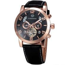 GAGNANT Hommes Noble Montre-Bracelet Mécanique Bracelet En Cuir Tourbillon Calendrier Sous-cadrans Grand Nombre D'or Lunette reloj hombre + BOÎTE