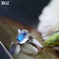 925 sterling silver Thai silver woman's ring hand set natural blue moonstone ring