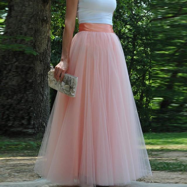 177ec514a Custom Made Floor Length Tulle Skirt for Wedding Premium Quality Soft Tulle  Long Skirt High Waist Vintage Solid Mesh Maxi Skirt