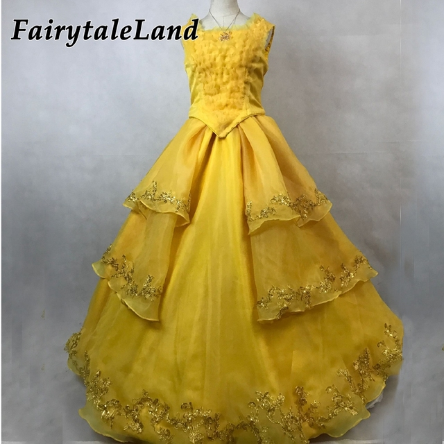 Emma Watson Yellow Belle Dress Halloween costumes for adult women movie Beauty and the Beast Belle Cosplay costume Custom made