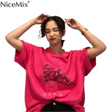 NiceMix summer style Womens Clothing oversize cartoon Harajuku tees casual embroidery T-shirts Korean woman tops fashion