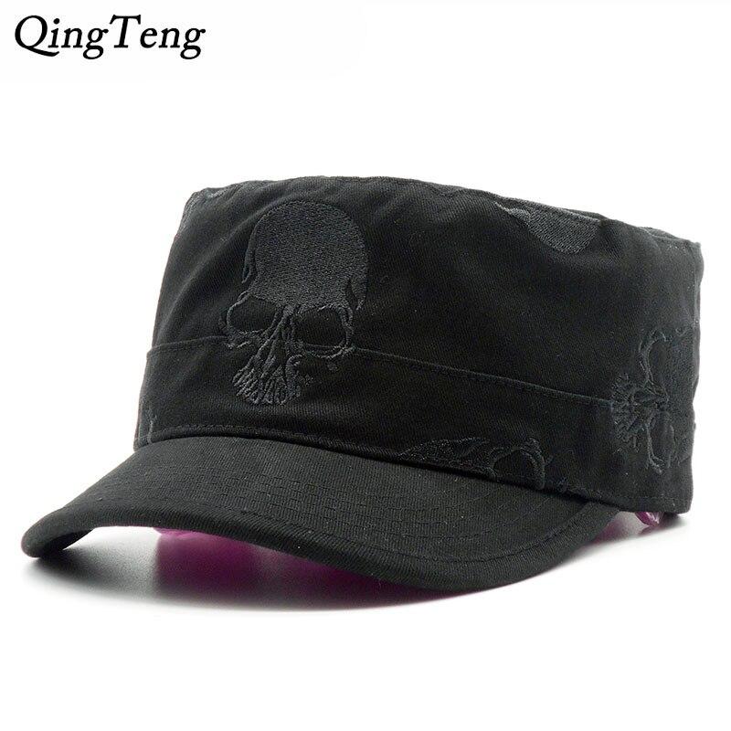 75cd3aed3b31 Gorra de béisbol de alta calidad para hombre, Vintage, plana, con bordado  de Calavera, sombreros ...