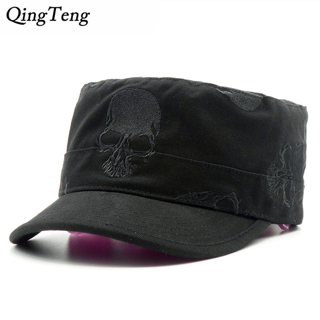 0c52cf3e517 High Quality Men Vintage Flat Top Caps Embroidery Skull Military Hats  Luxury Casual Women Baseball Hat Cotton Black Army Cap
