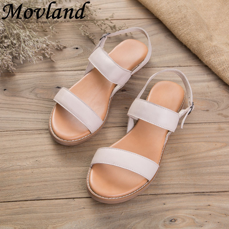 Movland-Summer New style real lether pure handmade Leisure simple women's sandals ,retro art mori girl shoes 9141,2 colors