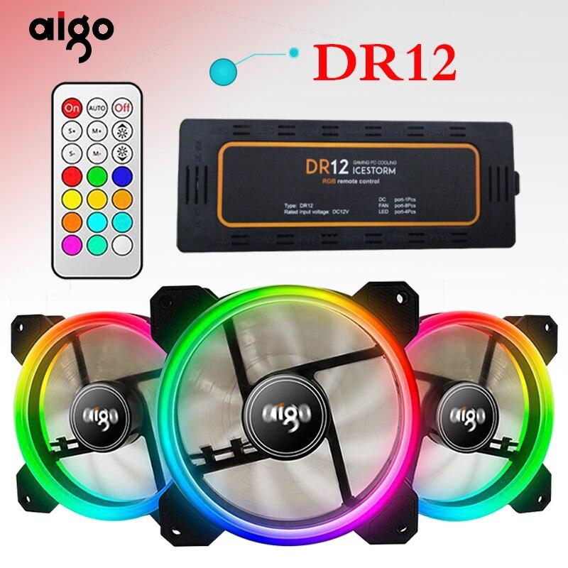 Ventilador 120 milímetros cooler ventilador Do Computador Aigo RGB LED Duplo Anel Multicolor DR12 LEVOU Tranquila Ventiladores de AR PC Controle Remoto fã