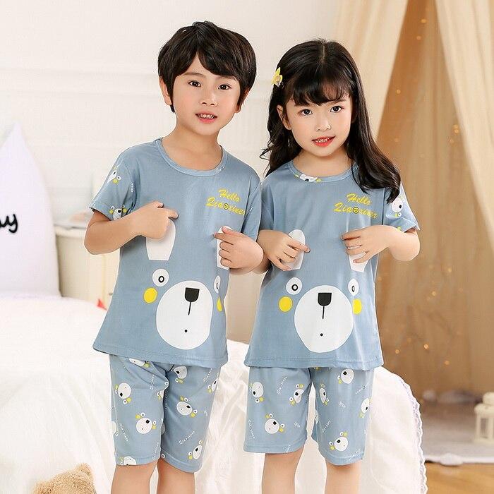 Pajamas-Set Clothing Short-Sleeve Girls Baby Kids Boys Children Cartoon Summer for Sleepwear