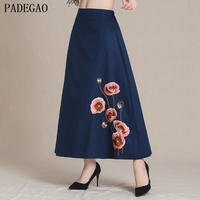 PADEGAO 2017 Red Floral Embroidery Women Skirt Elegant A Line Autumn Winter Casual Party Blue Loose
