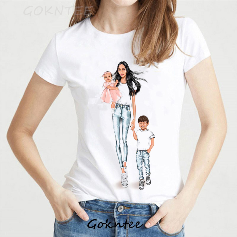Super Mom   T     shirt   Women Vogue Tops Mother's Day Print   T  -  shirt   Summer Harajuku TShirt Mama baby tee   shirt   Femme Dia de la madre