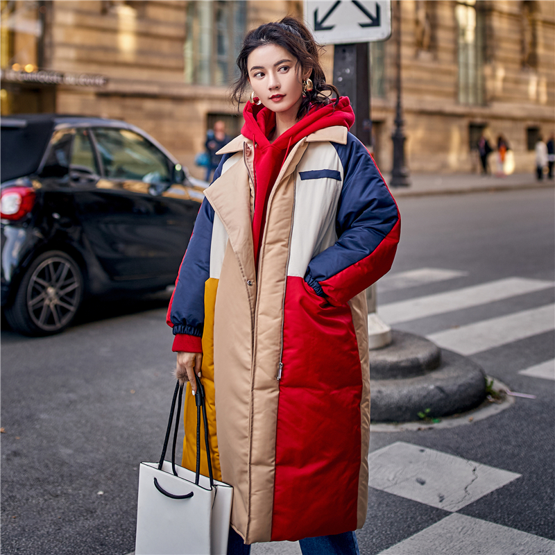 Harajuku Style Winter Coat Women Fashion Hit Color Long Jacket Women   Parka   2019 New Arrival Oversize Womens Cotton-Padded Jacket