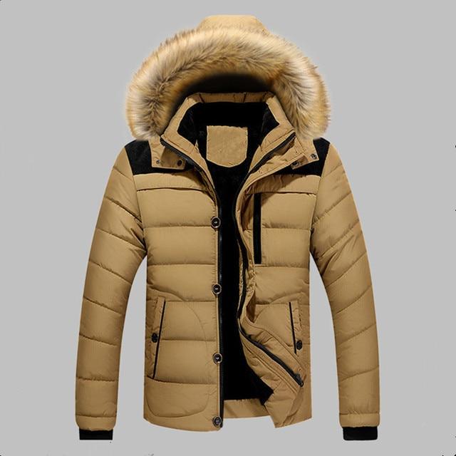 a58c02ad66 2019 Winter Jacket Men Slim Thicken Fur Hooded Outwear Warm Coat Top Casual Men's  Coat Tops Parka Men Coats Asian Size