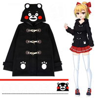 Anime! Kumamon Autumn Winter Woollen Coat Cosplay Costume Lovely Academy Japanese Style Black Top For Women Free Shipping