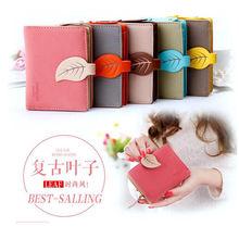Frauen Retro Leder Blatt Geldbörse Kartenhalter Mehrfarbigen Kupplung Brieftasche Medium Tasche