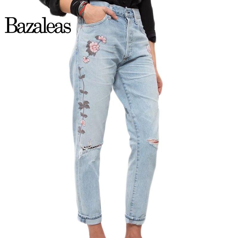Bazaleas 2017 Knee Hole Denim Jean Women Bottom Female embroidered Flower Loose Boyfriend Pants Ripped Jeans For Women