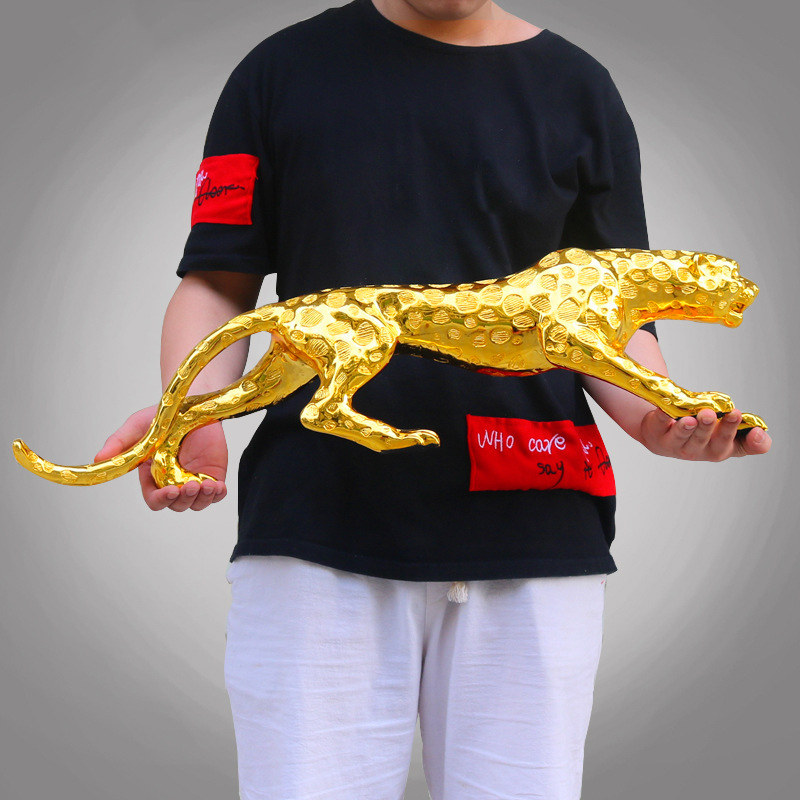 Modern Abstract Gold Panther Sculpture Geometric Resin Leopard Statue Wildlife Decor Gift Craft Ornament Accessories Furnishing