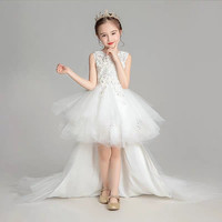 Children Kids White Color Elegant Host Piano Performance Long Tail Lace Dress Girls Baby Evening Birthday Party Ball Gown Dress