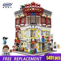 XingBao 01006 5491 шт подлинный креативный город МОС серия игрушки и книжный магазин набор детей строительные блоки кирпичи игрушка модель Gif