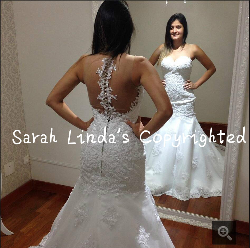 2016 New Design Mermaid Real Picture Wedding Dress Lace Appliques Beading Wedding Gowns Best Selling Back Button Bride Dress