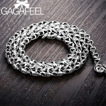 GAGAFEEL 5mm 925 Sterling Silver Letter Necklace Homme Punk Biker Chains for Men Male Fashion Thai Silver Jewelry Men's Gifts