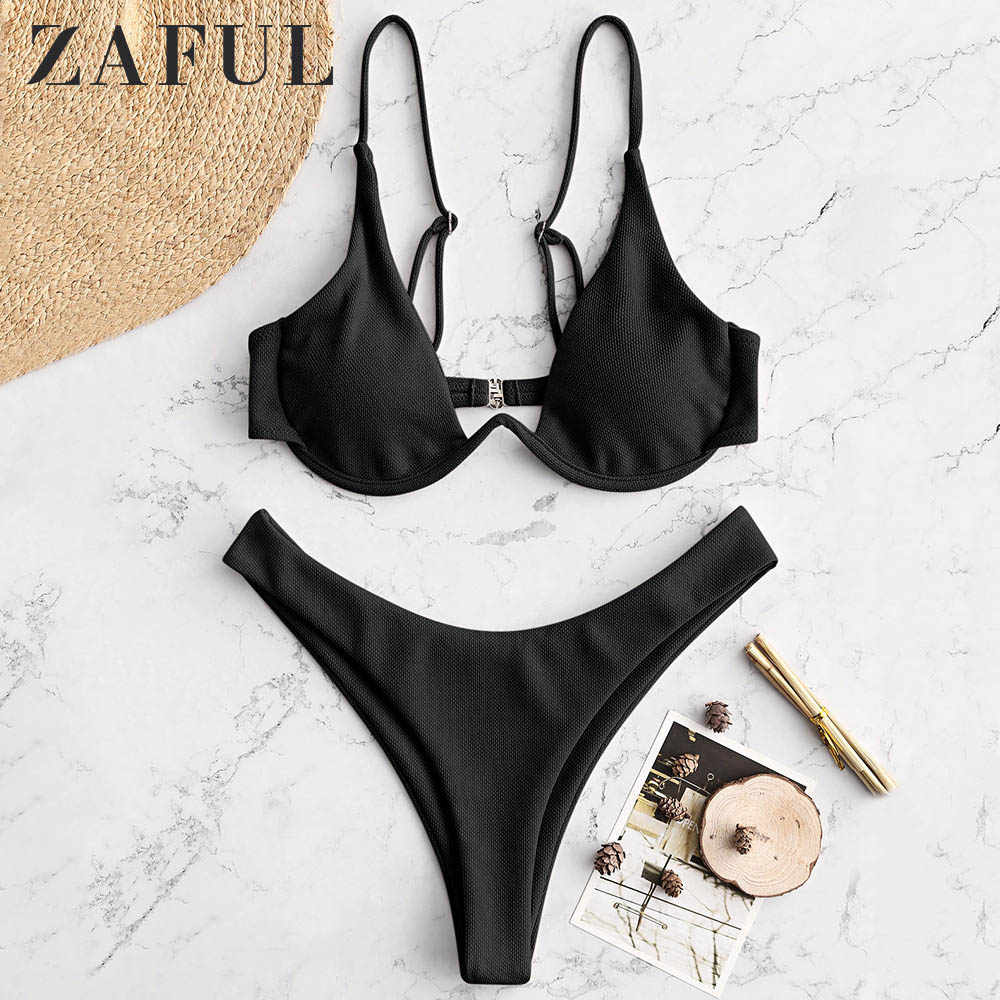 Zaful Seksi Terjun Leher Thong Bikini Set Underwhelming Terjun Baju Spaghetti Tali Empuk Wanita Pakaian Renang Tinggi Dipotong Sesuai dengan