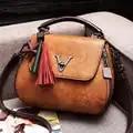 Женская сумка, Большая вместительная Женская сумочка с кисточками, модная сумка на плечо, кошелек, дамская сумка xia