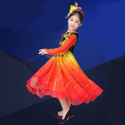 994ed14c0a77 Girls perform drum Costumes gold red Color Children Fan Yangko ...