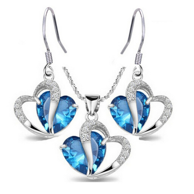 d0e838939caf5 US $7.5 20% OFF|White Gold Color Fashion Party Jewelry Sets Blue Gem Stone  Clear Crystal Cluster Heart Earrings Pendant Necklace for Party-in Jewelry  ...