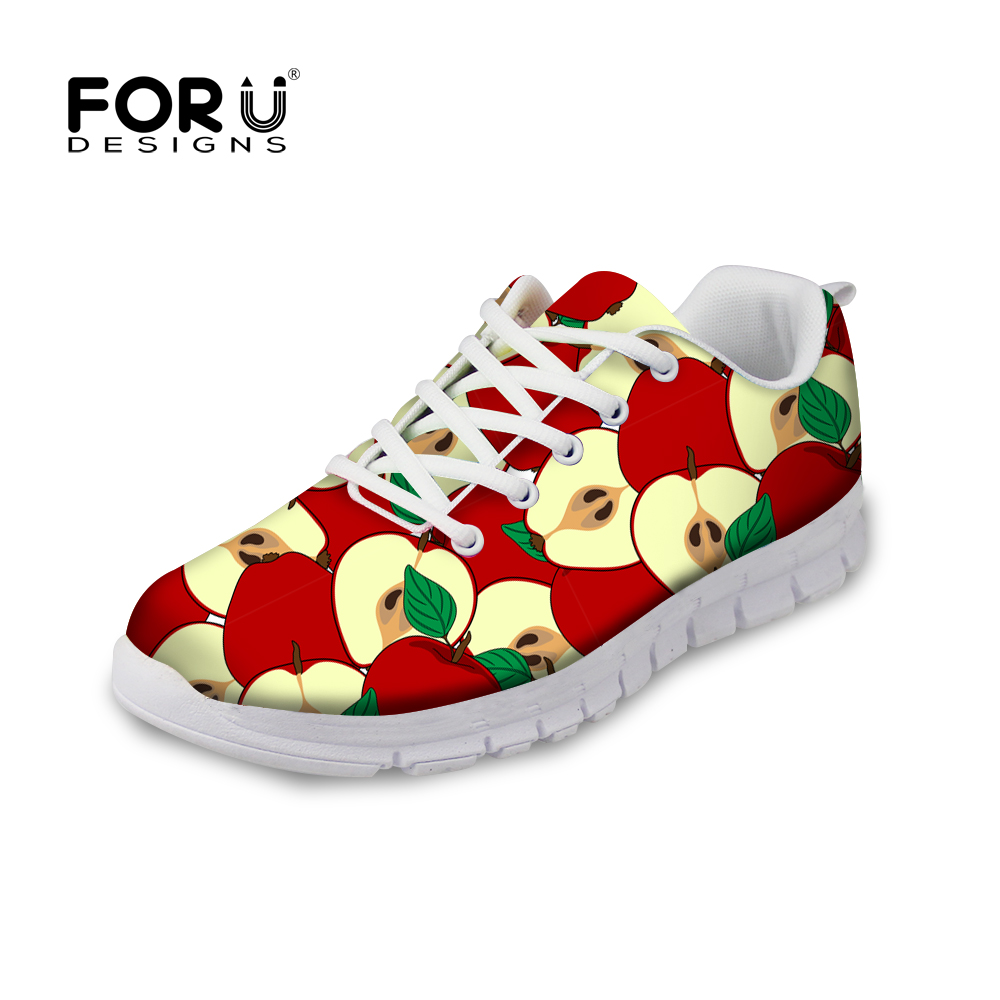 FORUDESIGNS Fashion Women's Flat Shoes 3D Fruit Printed Autumn Light Casual Shoes for Woman Ladies Lace-up Shoes Flats Mujer forudesigns casual women flats shoes woman fashion graffiti design autumn lace up flat shoe for teenage girls zapatos mujer 2017