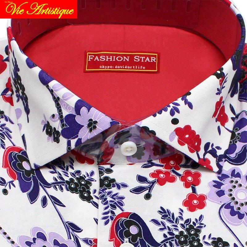 Personalizzato su misura su misura da Uomo cotone floreale camice di vestito di affari da sposa formale ware camicetta 2019 manica lunga fiore rosso - 2