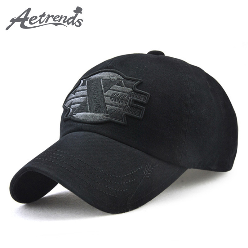 [AETRENDS] Fashion   cap   with logo embroidery   baseball     cap   demin men black hat outdoor a basketball sport mens   caps   Z-6032