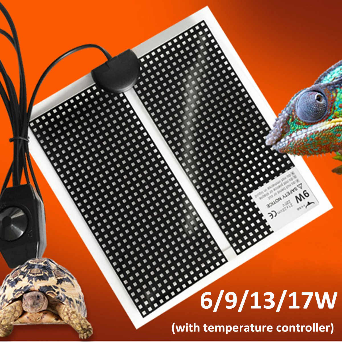 Terrarium Reptiles Heat Mat 6-17W Climbing Pet Heating Warm Pad Adjustable Temperature Controller Incubator Mat Tools Black