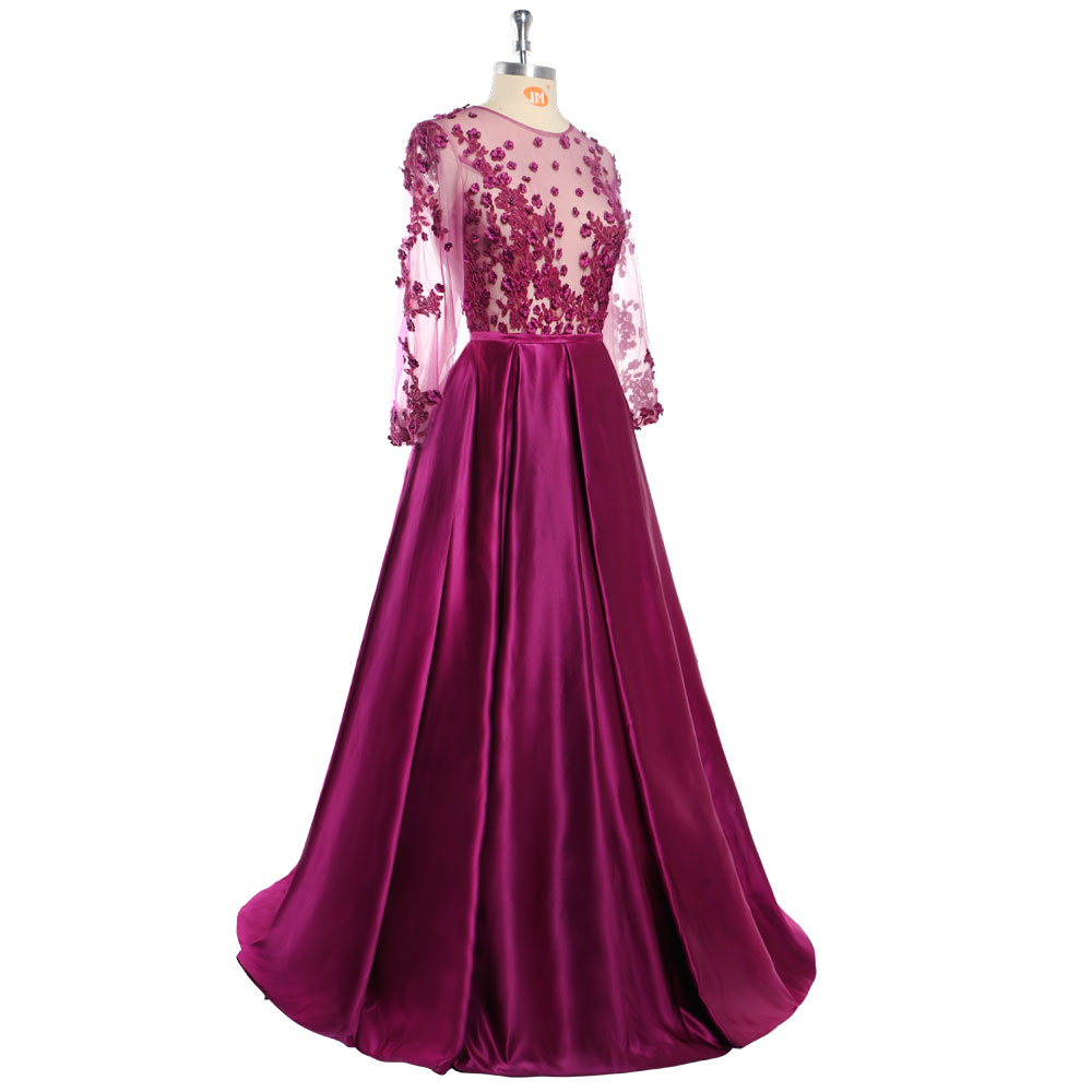 Robe De soirée 2018 dentelle violet foncé perlée Sexy longues robes De soirée mariée Banquet voir à travers-longueur Robe De bal De fête - 6