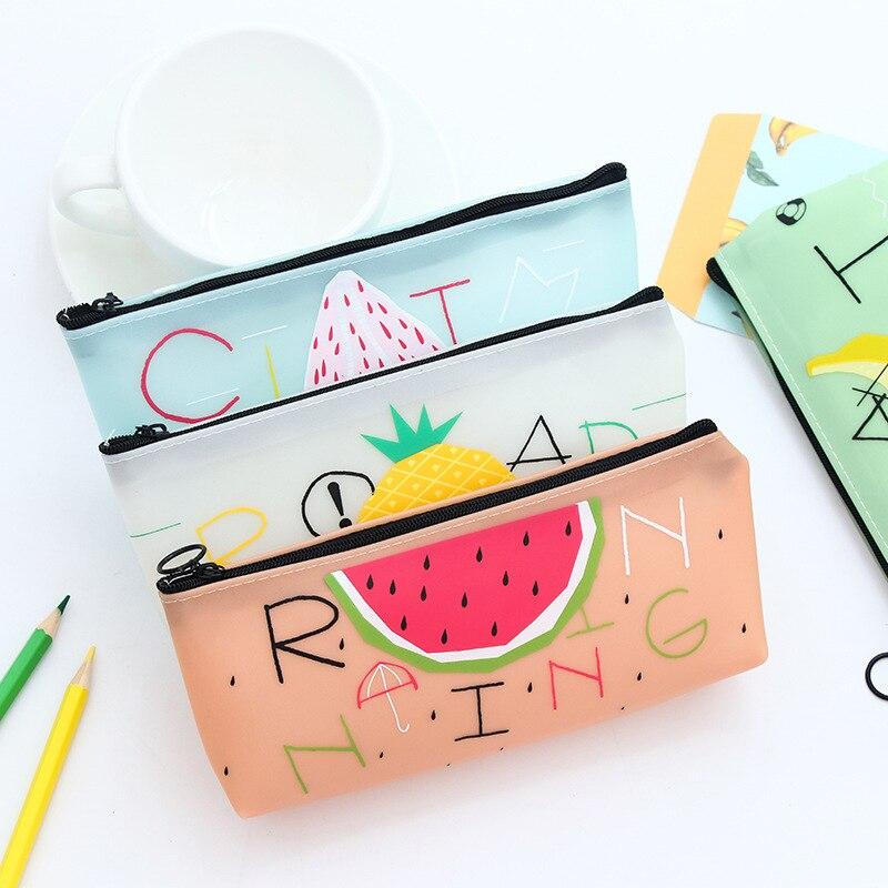 Cute Fruit Silicone Pencil Case Pen Box Etui Kawai Watermelon Pineapple Pencil Bag For Kid Bts Korean Stationery School Supplies